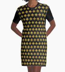ROYAL1 BLACK MARBLE AND YELLOW MARBLE (R) Graphic T-Shirt Dress