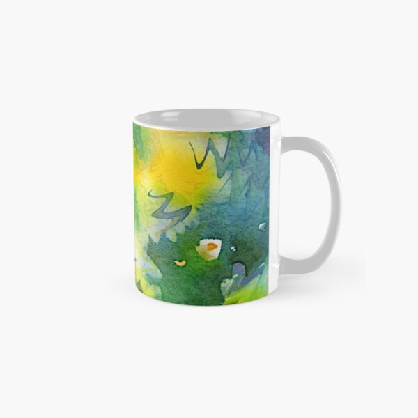 Welcome Spring Abstract Floral Digital Watercolor Painting 3 Classic Mug