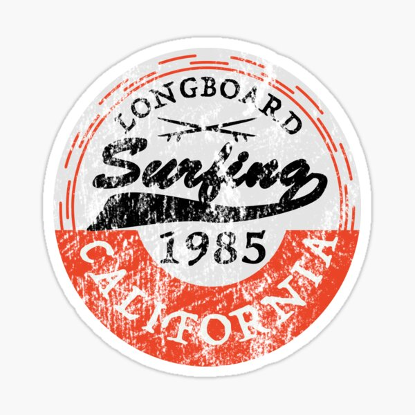 Vintage Surf Sticker Longboard Surfing California Sticker