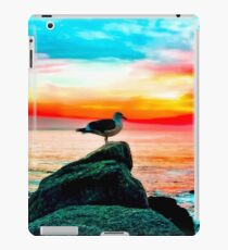 seagull bird on the stone with ocean sunset sky background in summer iPad Case/Skin