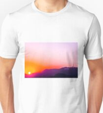 Hollywood sign in California, USA with summer sunset sky T-Shirt