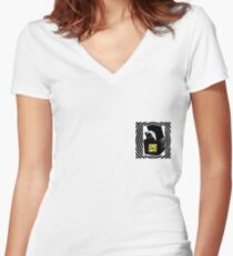 Black and white collage Women's Fitted V-Neck T-Shirt