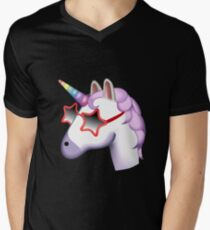 Unicorn Startstruck Emoji  Men's V-Neck T-Shirt