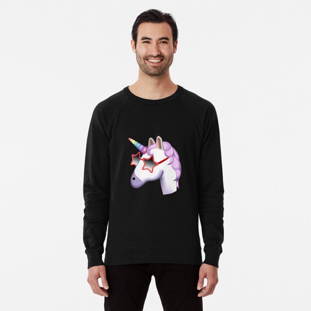 Unicorn Startstruck Emoji  Lightweight Sweatshirt