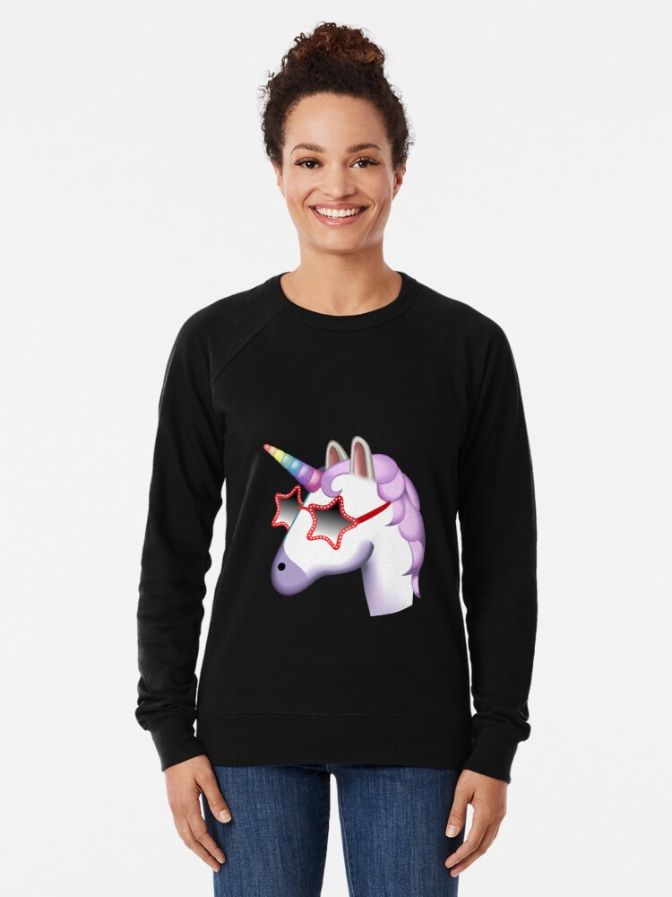 Alternate view of Unicorn Startstruck Emoji  Lightweight Sweatshirt