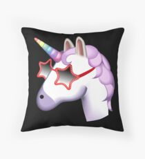 Unicorn Startstruck Emoji  Throw Pillow