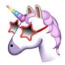 Unicorn Startstruck Emoji  by stylecomfy