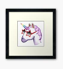 Unicorn Startstruck Emoji  Framed Print
