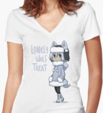 Lonely Wolf Treat Women's Fitted V-Neck T-Shirt
