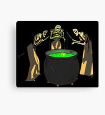 Three Witches cauldron fishing, A game of crones Canvas Print