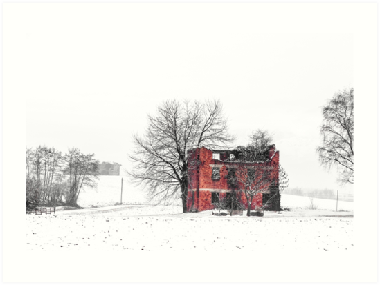 snow covering an abandoned farm by zakaz86
