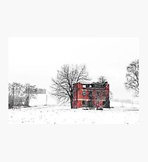 snow covering an abandoned farm Photographic Print