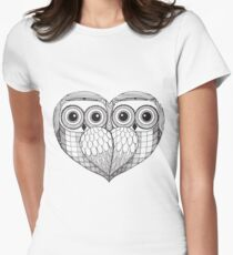 Owl sketch - Love Birds Women's Fitted T-Shirt