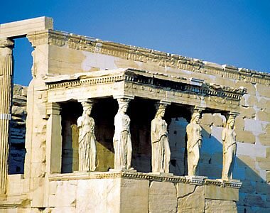 closeup of the Erectheum at the Acropolis, Athens by chord0