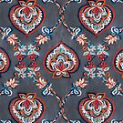 Floral Ogees in Red & Blue on Grey by micklyn