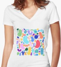 Jelly beans Women's Fitted V-Neck T-Shirt