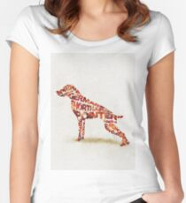 German Shorthaired Pointer Typographic Watercolor Painting Women's Fitted Scoop T-Shirt