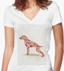 German Shorthaired Pointer Typographic Watercolor Painting Women's Fitted V-Neck T-Shirt
