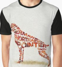 German Shorthaired Pointer Typographic Watercolor Painting Graphic T-Shirt