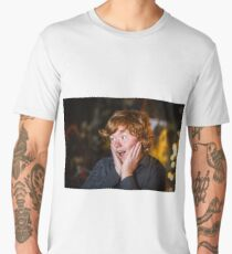 Teenage red-haired freckled boy showing wondering, studio Men's Premium T-Shirt