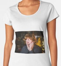 Teenage red-haired freckled boy showing wondering, studio Women's Premium T-Shirt