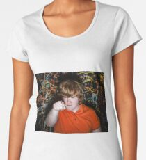 Red-haired freckled fat boy showing to youwith serious face Women's Premium T-Shirt