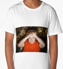 Red-haired boy taking his head showing catastrophe situation, studio Long T-Shirt