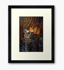 Man dressed into military wear and gas mask, ecology and toxic concept, studio light Framed Print