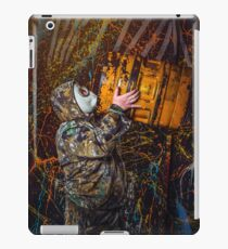 Man dressed into military wear and gas mask, ecology and toxic concept, studio light iPad Case/Skin