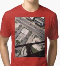 helicopter city streets cars tampa buildings modern grunge aerial views Tri-blend T-Shirt