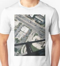 helicopter city streets cars tampa buildings modern grunge aerial views T-Shirt