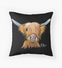 HIGHLAND COW ' LITTLE VIKING ' By Shirley MacArthur Throw Pillow