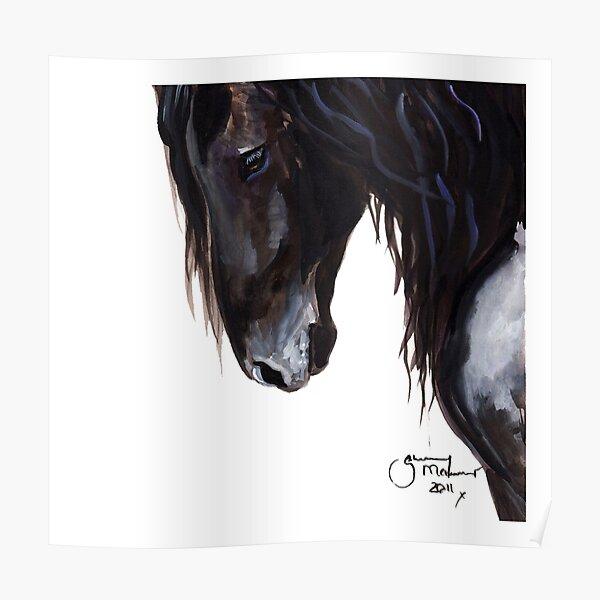 Horse PRiNT BLaCK FRieSiaN 'Wiser' By Shirley MacArthur Poster
