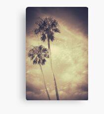 Sepia Toned Retro Palms Canvas Print