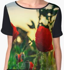 Flying bumblebee and red poppy, sunrise time, Alsace, France Women's Chiffon Top