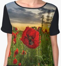 Colorful landscape at sunrise: sun, red poppies and blue sky, Alsace, France Women's Chiffon Top