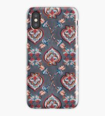 Floral Ogees in Red & Blue on Grey iPhone Case/Skin