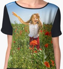 Cute little girl playing in red poppies field summer day, beauty and happiness, France Women's Chiffon Top