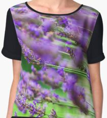 Lavender violet  flowers in the garden, summer day, nature Women's Chiffon Top
