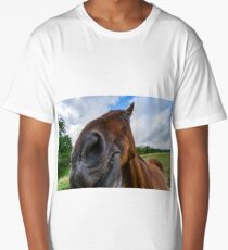 Horse close-up portrait on pasturage, summer day, Alsacxe, France Long T-Shirt