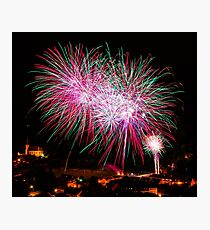 Long Exposure of Multicolored Fireworks Against a Black Sky - Bastille Day Photographic Print