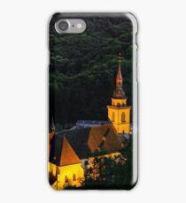 Majestic old church in small french village Andlau, night view iPhone Case/Skin