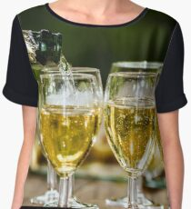 Filling glasses by champagne, outdoor party, celebration Chiffon Top