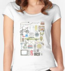 STRANGER THINGS object illustration barb glasses quote eggs 011 upside down demogorgon eleven Women's Fitted Scoop T-Shirt