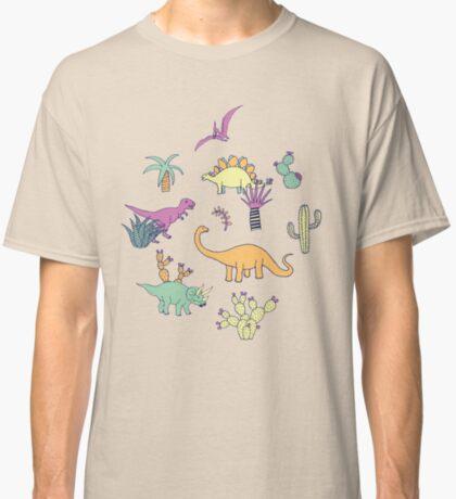 Dinosaur Desert - peach, mint and navy - fun pattern by Cecca Designs Classic T-Shirt