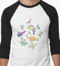 Dinosaur Desert - peach, mint and navy - fun pattern by Cecca Designs Men's Baseball ¾ T-Shirt