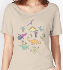 Dinosaur Desert - peach, mint and navy - fun pattern by Cecca Designs Women's Relaxed Fit T-Shirt