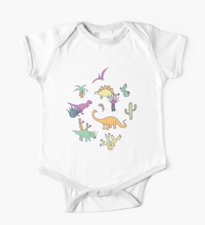 Dinosaur Desert - peach, mint and navy - fun pattern by Cecca Designs Kids Clothes