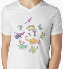 Dinosaur Desert - peach, mint and navy - fun pattern by Cecca Designs T-Shirt