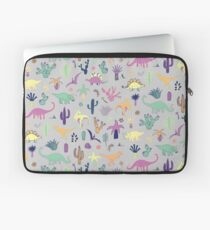 Dinosaur Desert - peach, mint and navy - fun pattern by Cecca Designs Laptop Sleeve